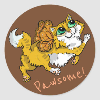 Fairy Cat Pawsome! Classic Round Sticker