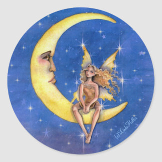 Fairy chatting with the moon classic round sticker