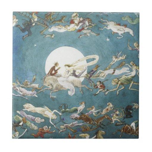 Fairy Dance Around The Moon Ceramic Tiles