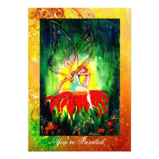 FAIRY DREAMING ON A RED FLOWER  yellow green Custom Invites