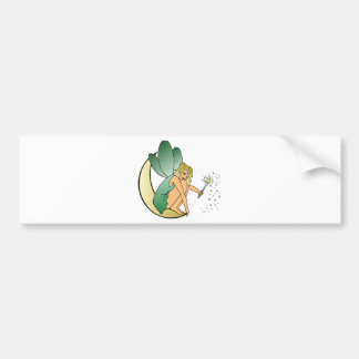 Fairy/Faerie/Pixie Girl on Crescent Moon with Wand Bumper Sticker