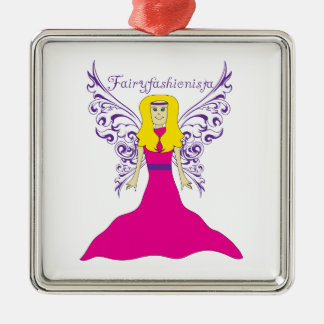 Fairy Fashionista Silver-Colored Square Ornament