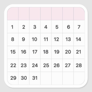 Fairy Floss Monthly Calendar Square Sticker