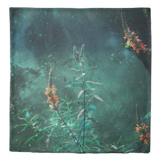 Fairy Flowers in the Jade Moonlight Duvet Cover