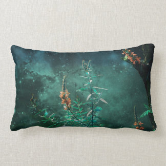 Fairy Flowers in the Jade Moonlight Lumbar Pillow
