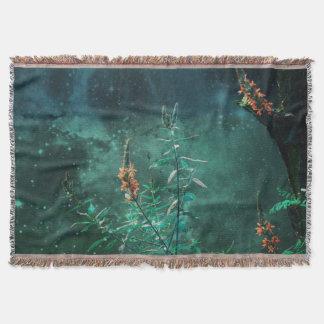 Fairy Flowers in the Jade Moonlight Throw Blanket