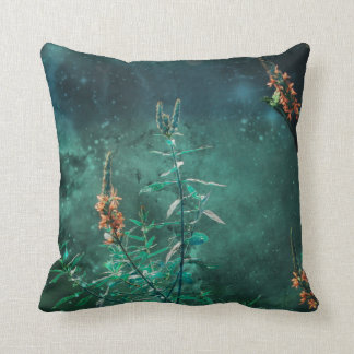 Fairy Flowers in the Jade Moonlight Throw Pillow