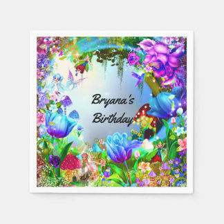 Fairy Forest Enchanted Magical Birthday Party Paper Napkins