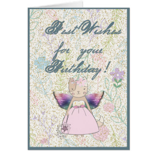 Fairy Fox with a magic wand says Best Wishes Card