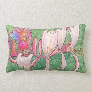 Fairy friends on the honeysuckle lumbar pillow
