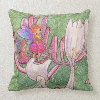 Fairy friends on the honeysuckle throw pillow
