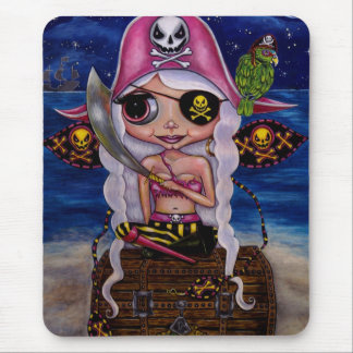 Fairy Girl Pirate Eye Patch Parrot Cute Doll Mouse Pad
