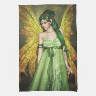 Fairy Girl with Green Hair Kitchen Towel