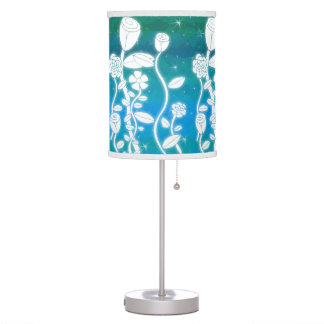 Fairy Glitter Flowers Mermaid Turquoise Ombre Table Lamp