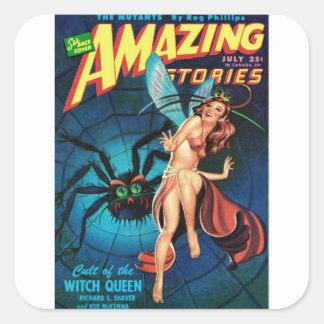 Fairy in a Spider Web Square Sticker