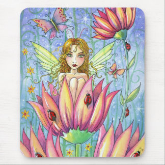 Fairy in Pink Flower Mousepad by Molly Harrison