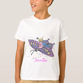 Fairy in Pink Flying on Butterfly T-Shirt