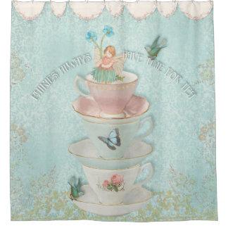 Fairy in Stacked Teacups w Birds Little Girl Decor