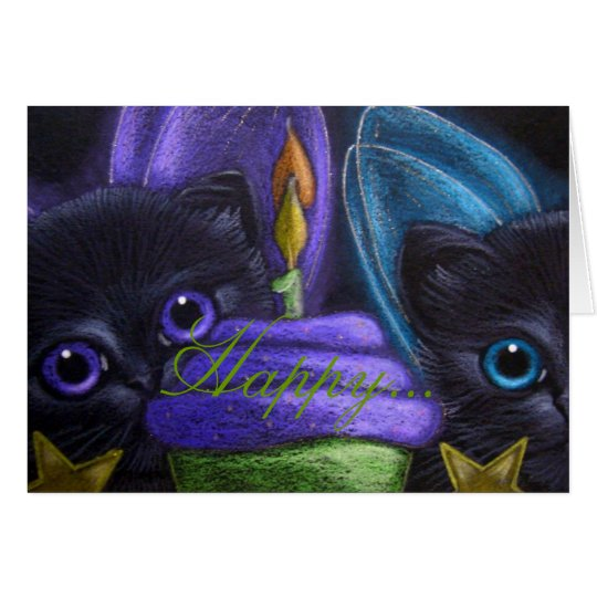 FAIRY KITTEN CATS - BIRTHDAY Card