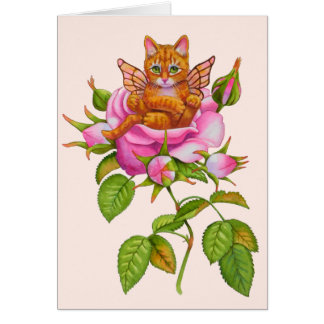 Fairy Kitten Resting in Rose Card