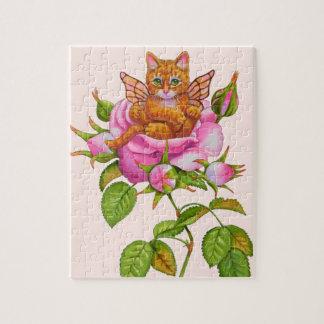 Fairy Kitten Resting in Rose Jigsaw Puzzle