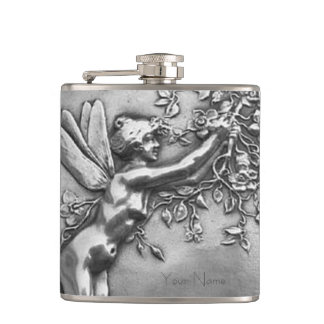 Fairy Lady Antique Silver Repousse Whiskey Nip Hip Flask