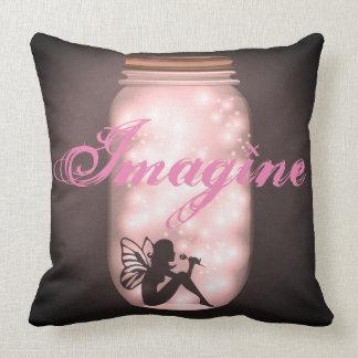 Fairy Light Mason Jar Imagine Pillow for Girls