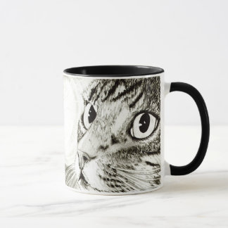 Fairy Light Tabby Cat Black and White Art Mug