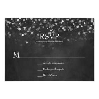 Fairy Lights Chalkboard Wedding RSVPs Card