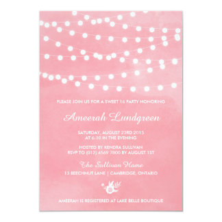 "Fairy Lights Pink Sweet Sixteen Party Invitation 5"" X 7"" Invitation Card"