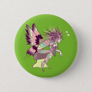 Fairy Male Elf Butterfly Brownie Cartoon Green 2 Inch Round Button