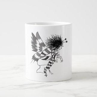 Fairy Male Fantasy Black White Stripes Hand Drawn Large Coffee Mug