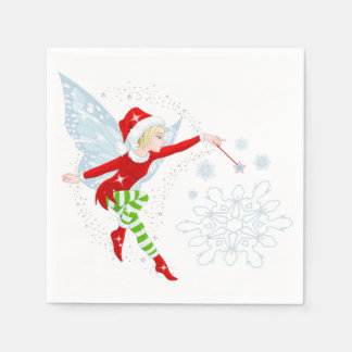 Fairy Merry Christmas  White Cocktail Paper Napkin