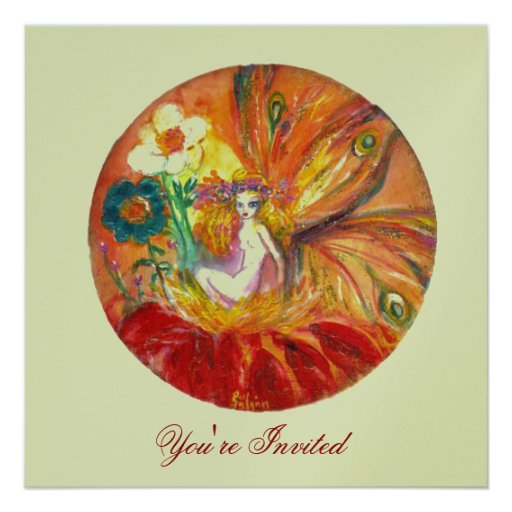 FAIRY OF THE FLOWERS silver metallic ,red  yellow Personalized Announcements