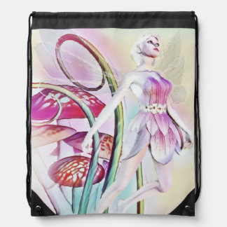 Fairy of the wood pull string back pack drawstring bag