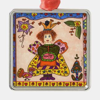 Fairy Of UNITY Silver-Colored Square Ornament