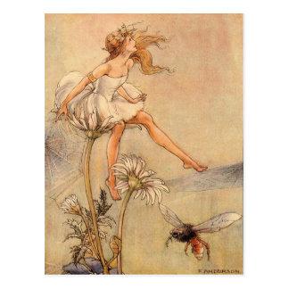 Fairy on a Daisy - Postcard