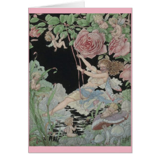 Fairy on a Garden Swing, Card