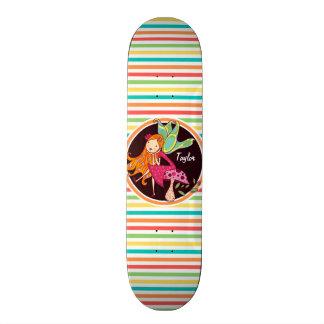 Fairy on Bright Rainbow Stripes Skateboards