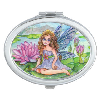 Fairy on Lily Pad Compact Mirror
