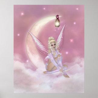 Fairy on the Moon - Fantasy Print