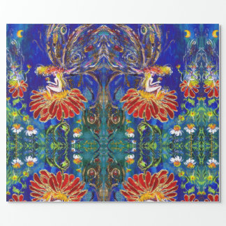 FAIRY ON THE RED FLOWER IN THE NIGHT Blue Green Wrapping Paper