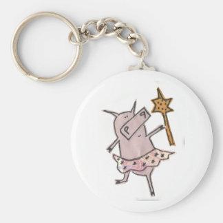 Fairy Pig Basic Round Button Keychain