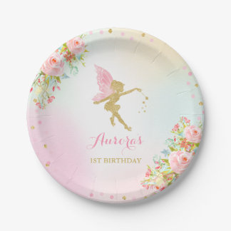 """Fairy Pink And Gold Paper Plate 7"""" Paper Plates"""