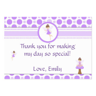Fairy Polka Purple Birthday Thank You Tag Label Pack Of Chubby Business Cards