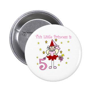 Fairy Princess 5th Birthday 2 Inch Round Button