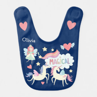 Fairy Princess and Unicorn Personalized Bib