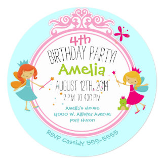 Fairy Princess Birthday Circle Invite
