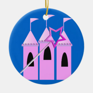 Fairy Princess Castle & Magic Wand Ceramic Ornament