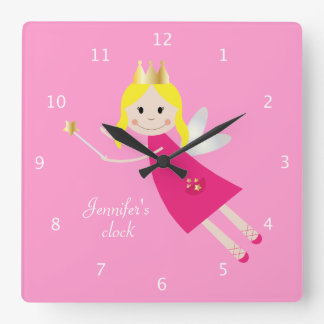 Fairy Princess custom girls name pink Square Wall Clock